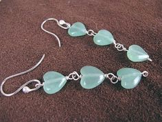 Hearts on a String artisan earrings, aventurine and sterling | bohowirewrapped - Jewelry on ArtFire