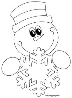 Winter - Coloring Page Diy Christmas Snowflakes, Christmas Window Decorations, Kids Christmas Ornaments, Christmas Doodles, Preschool Christmas, Christmas Crafts For Kids, Christmas Colors, Space Coloring Pages, Coloring Books