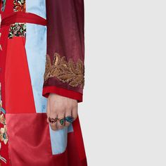 Gucci Embroidered patchwork reversible coat Detail 9