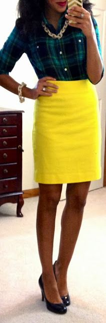 taking a plaid shirt and making it work-friendly.  love the yellow skirt!  Hello, Gorgeous!: work clothes for days!
