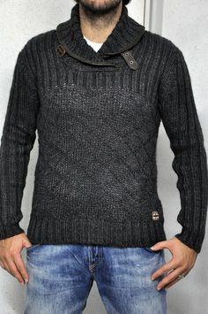 Maglia Napapijri grigio, con collo particolare