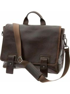 Simply functional messenger bag in dark leather