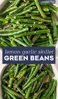 Simple and easy, this Skillet Green Beans recipe is made using fresh green beans that are cooked until crisp tender, and seasoned with plenty of garlic and lemon flavors! They're the perfect side dish! #greenbeans #fresh #sidedish Best Side Dishes, Healthy Side Dishes, Healthy Junk, Fresh Green Bean Recipes, Simple Green Bean Recipe, Easy Vegetable Recipes, Vegetable Side Dishes, Side Dish Recipes, Recipes Dinner