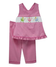 Love this Vive La Fête Pink Fairies Smocked Top & Capri Pants - Kids by Vive La Fête on #zulily! #zulilyfinds