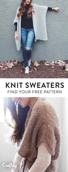 Our favorite knit sweater patterns to keep you cozy this Fall. Our favorite knit sweater patterns to keep you cozy this Fall. Sweater Knitting Patterns, Loom Knitting, Free Knitting, Knit Sweaters, Cardigans, Vogue Knitting, Knitting Machine, Vintage Knitting, Crochet Quilt