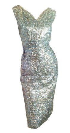 Volputuous Glamour! Pastel Tinsel Lamé Wiggle Dress circa 1960s XXL - Dorothea's Closet Vintage
