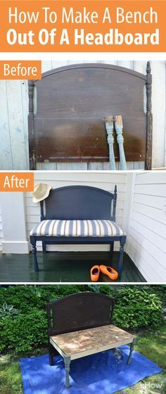 Love this transformation! Turn an old headboard into an upcycled bench! Follow this tutorial for the full how-to with pictures! http://www.ehow.com/how_12071549_diy-make-bench-out-bed-headboard-footboard.html?utm_source=pinterest.com&utm_medium=referral&utm_content=freestyle&utm_campaign=fanpage