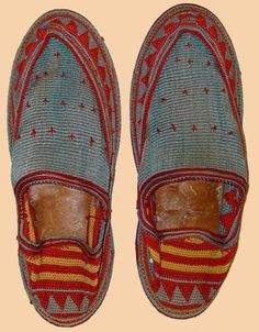 Antique Persian Silk Embroidered Shoes  Qajar Dynasty 1795 -1925