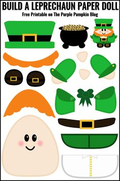 Build a Leprechaun Paper Doll - Free Printable! A fun activity for kids on St. Patrick's Day - print off the Leprechaun pieces, cut out and use glue to assemble him! Great for practising cutting skills. Patricks day crafts for kids St Patrick Day Activities, Fun Activities For Kids, Craft Activities, Preschool Crafts, Spring Activities, March Crafts, St Patrick's Day Crafts, Holiday Crafts, Fun Crafts