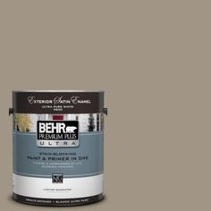 BEHR Premium Plus Ultra 1-gal. #BNC-24 Shadow Taupe Satin Enamel Exterior Paint-985401 - The Home Depot