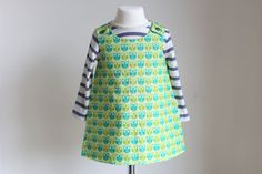 Reversible Pinafore Dress  Green Owl Design by HAHonline on Etsy