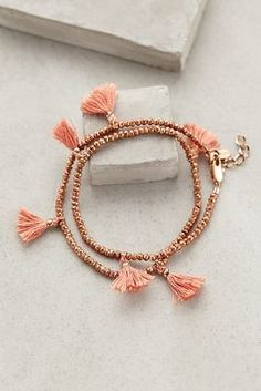Shashi Fluttered Tassel Wrap Bracelet #anthrofave