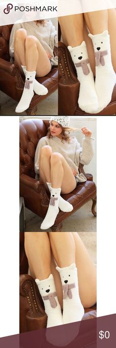 ⭐️JUST IN⭐️ Adorable Soft  Fuzzy Bear Socks. These adorable cute white fuzzy cozy warm bear socks are perfect for your winter collection. Nice thick and plush. Brand new tags attached. Smoke free house. Accessories Hosiery & Socks