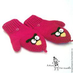"""Варежки-трансформеры """"Angry Birds"""" - ярко-красный,перчатки,перчатки без пальцев"""