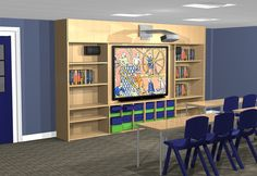 Classroom office design, incorporating storage space into the necessities of a classroom.  Giving the benefits of classroom storage whilst keeping to tight budgets.