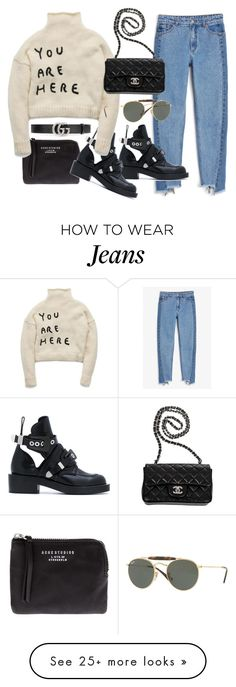 """Untitled #23124"" by florencia95 on Polyvore featuring Monki, Acne Studios, Balenciaga, Chanel, Gucci and Ray-Ban"