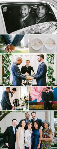 Jerrold and  Drew met online and moved in together a year later.  Jerrold proposed to Drew in front of a large group of mutual friends, but kept their wedding small celebrating with close friends and family.