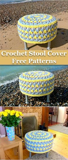 Crochet Stool Cover Free Patterns Diy Crochet Toys, Crochet Pouf, Crochet Tree, Crochet Shawl, Crochet Crafts, Crochet Projects, Free Crochet, Crochet Bags, Knitting Patterns