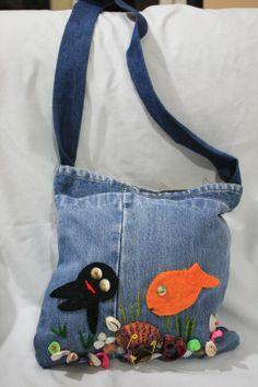 Kayıp balık Nemo seven çocuklar için el yapımı kot çanta