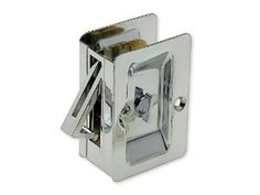Pocket Door Lock, Privacy, Solid Brass, 3 1/4 In. X 2 1/4 In., Chrome Finish by Harney Hardware. $11.90. Pocket Door Lock, Privacy, Solid Brass, 3 1/4 In. X 2 1/4 In.; Fits Standard Doors 1 3/8 Inches Thick; 3 1/4 Inches High X 2 1/4 Inches Wide; Mounting Hardware: 2 X 7/16 Inch Length Brass Screws Included; Fabricated From Brass; Chrome Finish.
