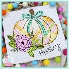 Pumpkin Bow Flower Bean Stitch Applique Design