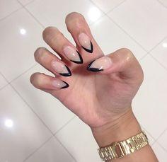 May 2019 - french nails square Hair Colors Nail Polish, Nail Manicure, French Nails, Pointy Nails, Short Stiletto Nails, Nail Art, Get Nails, Almond Nails, Natural Nails