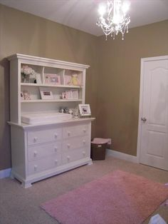 Windsor 3 drawer changing table with hutch in a caramel latte finish