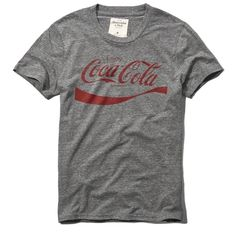 Abercrombie & Fitch Vintage Coca Cola Graphic Tee ($15) ❤ liked on Polyvore featuring men's fashion, men's clothing, men's shirts, men's t-shirts y grey
