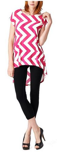 Modest and cute! Womens Poly Span Chevron Print High & Low Tunic - A Thrifty Mom
