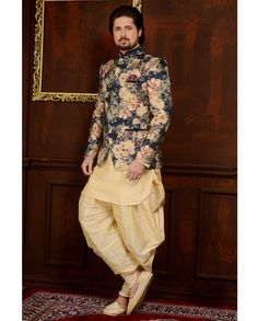 Beige banarasi Silk men's sherwani style paired with a matching art silk bottom. Sherwani For Men Wedding, Wedding Dresses Men Indian, Wedding Outfits For Groom, Mens Sherwani, Wedding Dress Men, Wedding Suits, Sherwani Groom, India Fashion Men, Indian Men Fashion