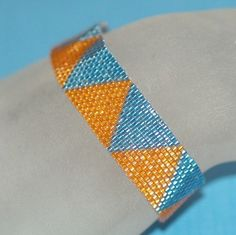 Inspired  Peyote Bracelet  Orange  Tangerine  Sky by time2cre8, $31.00 - good pattern for class on beg. peyote