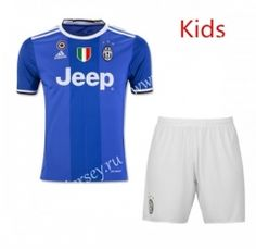 2016/17 Juventus Away Bule Kids/Youth Soccer Uniform With Patches