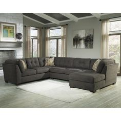 $1008  Not Ashley  Great Reviews   Delta City 3-Piece Sectional Set with Right Arm Facing Chaise in Steel | Nebraska Furniture Mart
