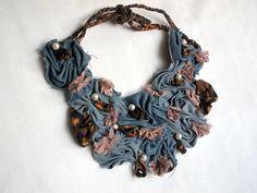 Upcycled Denim Necklace. Bib Necklace. Jeans от mycrazycraft