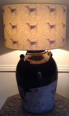 Inside Out William Morris Hound print lampshade - here switched on & the print shines through.