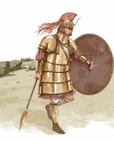 An example of how the 'Dendra' panoply may have looked, as worn in the Mycenaean… Mycenaean, Minoan, Greek Warrior, Trojan War, Historical Pictures, Medieval Fantasy, Bronze Age, Military Art, Ancient Greece