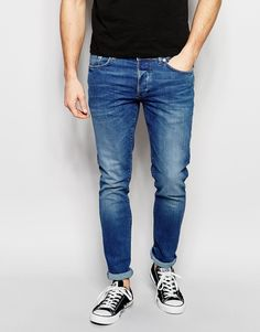 Image 1 ofRiver Island Skinny Fit Jeans In Mid Wash Blue