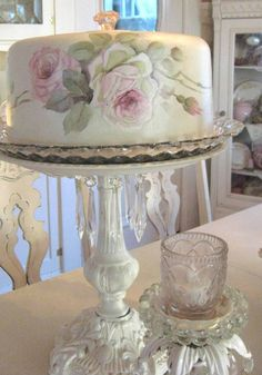 Cindy Ellis - Roses - Cake Plate