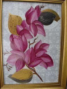 Image - petit tableau de bougainvilliers sur fond gris. Feuilles or platine et blanc mat sur lustre irisé - L'art de la peinture sur Porcelaine - Skyrock.com