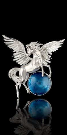 Master Exclusive Jewellery - Collection - Mysticism Brooch #9956. 18K white gold, topaz London blue 59.33 ct., diamonds, enamel.