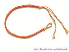 刺繍糸で作ったタッチング結びミサンガ