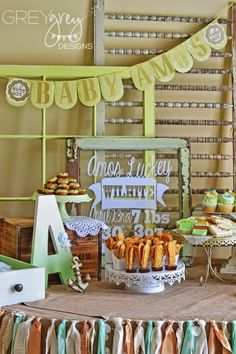 GreyGrey Designs: {My Parties} Mint and Gold Vintage Sip and See Baby Shower