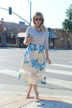 Illesteva Sunglasses, J.Crew Top and Necklace, Topshop Skirt, Vintage Clutch, Zara Heels