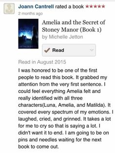 Book review by a fan on Amelia and the Secret of Stoney Manor written by author Michelle Jetton.