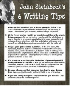 "essebellwrites: "" John Steinbeck's VERY USEFUL writing advice ─ ℰ. (via John Steinbeck 6 Writing Tips Writer Tips, Book Writing Tips, Writing Process, Writing Quotes, Writing Resources, Writing Help, Writing Skills, Writing Ideas, Article Writing"