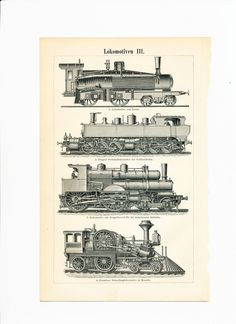 Locomotive print steam engines print Lentz locomotive trains : Antique 1890s…