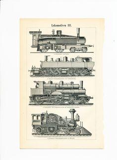 Locomotive print steam engines print Lentz locomotive trains : Antique 1890s…