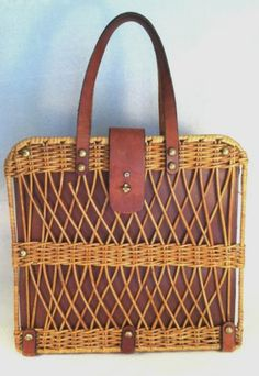 Vintage Etienne Aigner Leather & Wicker Purse