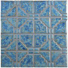 "Moonlight 11.75"" x 11.75"" Porcelain Mosaic Tile in Pacific Blue"
