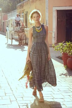 Shibori Maxi Dress - anthropologie.com . . . with a little white jeans jacket